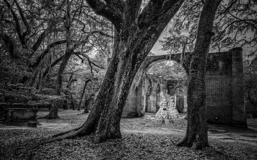 Irene Oleksiuk ~ Visitors at Old Sheldon Church ruins SC
